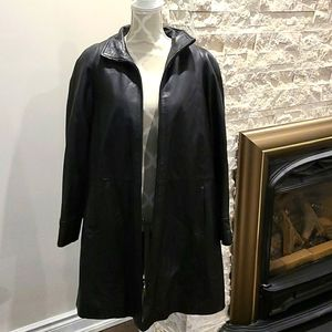 Danier Black leather long zip out lined co…